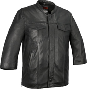 B419 Motorcycle Club Leather Shirt with Short Wide Sleeves